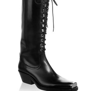 WHITE 205W39NYC Tall Lace Up Leather Boot